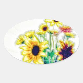 Summer Sunflower and Strawflower Bouquet Oval Sticker