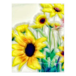 Summer Sunflower and Strawflower Bouquet Postcard
