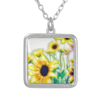 Summer Sunflower and Strawflower Bouquet Silver Plated Necklace