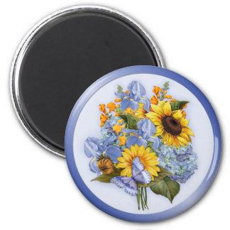 Summer Sunflower Bouquet 6 Cm Round Magnet