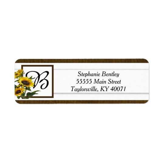 Summer Sunflower Burlap Return Address Label