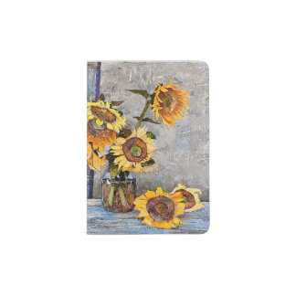 Summer Sunflower Flowers on Table Passport Holder