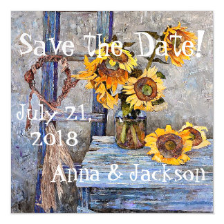 Summer Sunflower Flowers Save Date Magnetic Card Magnetic Invitations