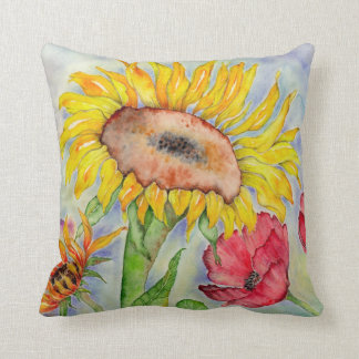 Summer Sunflower Watercolor Pillow