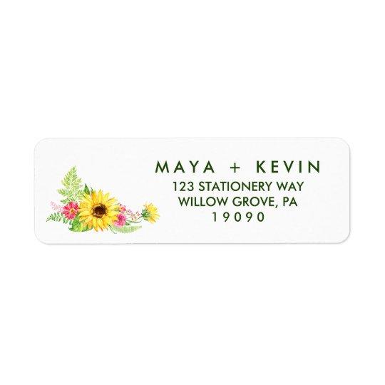 Summer Sunflower Wedding Return Address Label