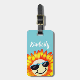 Summer Sunglasses Sunflower & Name Luggage Tag