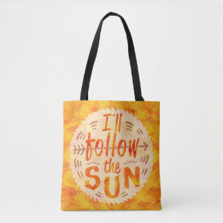 Summer Sunny Orange Painted Follow Sun Typography Tote Bag