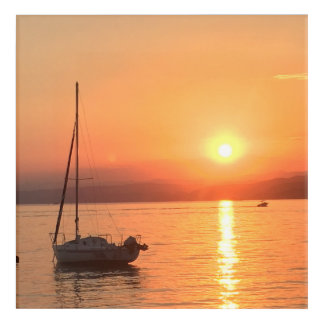 Summer sunset at sea acrylic print