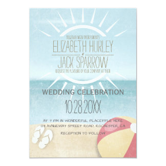 Summer Sunset Beach Wedding Invitations