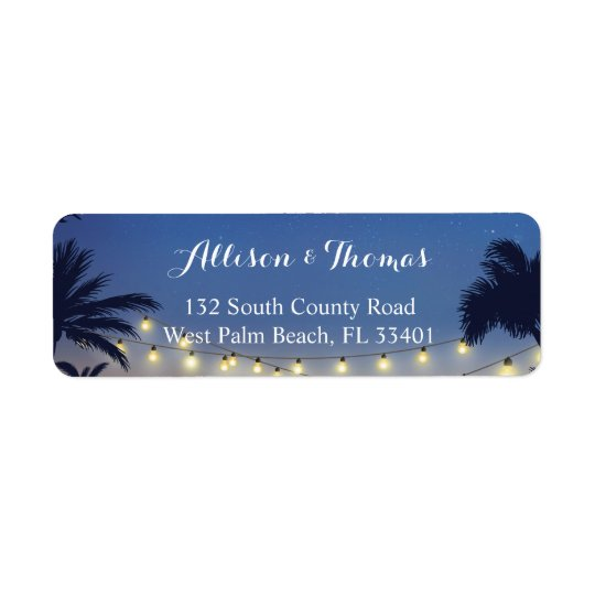 Summer Sunset Palm Beach String Lights Return Address Label