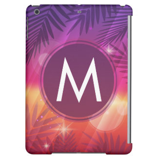 Summer Sunset Palm Trees Monogram Purple Orange