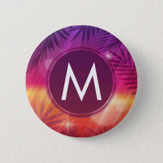 Summer Sunset Palm Trees Monogram Purple Orange 6 Cm Round Badge