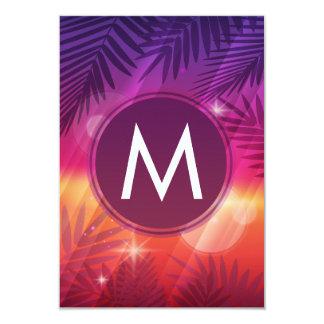 Summer Sunset Palm Trees Monogram Purple Orange 9 Cm X 13 Cm Invitation Card