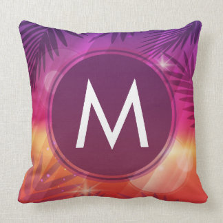Summer Sunset Palm Trees Monogram Purple Orange Cushion