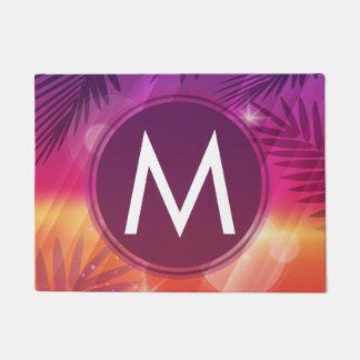 Summer Sunset Palm Trees Monogram Purple Orange Doormat