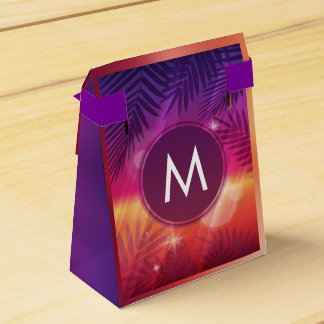 Summer Sunset Palm Trees Monogram Purple Orange Favour Box