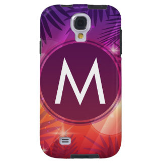 Summer Sunset Palm Trees Monogram Purple Orange Galaxy S4 Case
