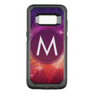 Summer Sunset Palm Trees Monogram Purple Orange OtterBox Commuter Samsung Galaxy S8 Case