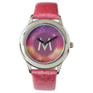 Summer Sunset Palm Trees Monogram Purple Orange Wrist Watches