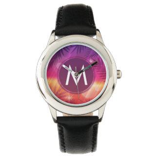 Summer Sunset Palm Trees Monogram Purple Orange Wristwatch