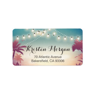 Summer Sunset Palm Tress String Lights Address Label