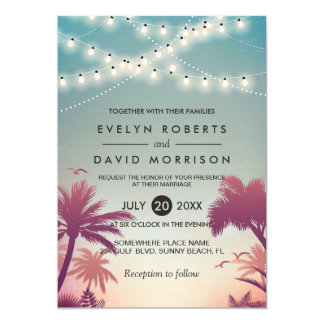 Summer Sunset Palms String Lights Outdoor Wedding Card