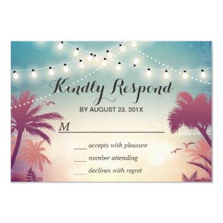 Summer Sunset String Lights Palm Tree RSVP 9 Cm X 13 Cm Invitation Card
