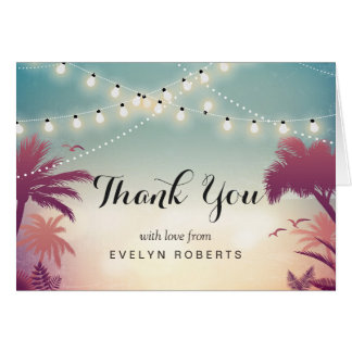 Summer Sunset String Lights Thank You Card
