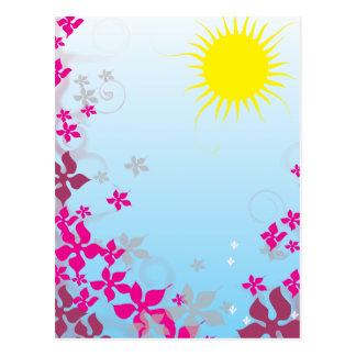 summer sunshine and fuschia flowers postcard