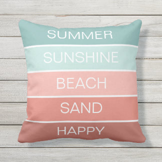 Summer, sunshine, happy, sand beach stripes outdoor cushion