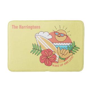 Summer Surfer custom name bath mats