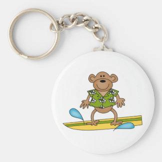 Summer Surfer Monkey Basic Round Button Key Ring