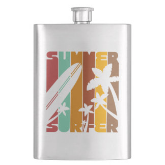 Summer Surfer Typography Graphic Classic Flask