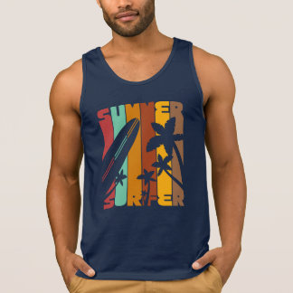 Summer Surfer Typography Graphics Cotton Tank Top