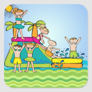 Summer Swimming Pool Party Stickers