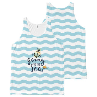 Summer Tank top with beautiful sea elements