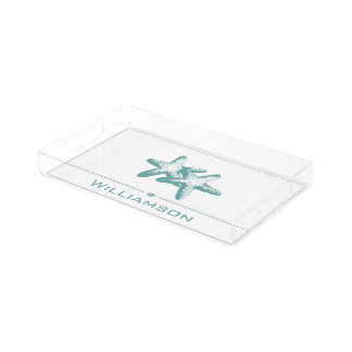 Summer Teal Double Starfish Acrylic Tray