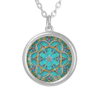Summer Theme Kaleidoscope Silver Plated Necklace