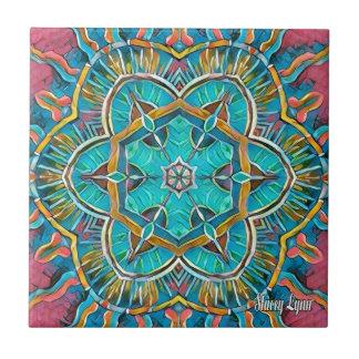 Summer Theme Kaleidoscope Small Square Tile