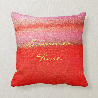 Summer Time Red Abstract Watercolor Pillow