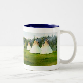 SUMMER TIPI CAMP by SHARON SHARPE Two-Tone Coffee Mug