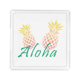 "summer tropical ""aloha"" text, colorful pineapple acrylic tray"