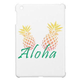 "summer tropical ""aloha"" text, colorful pineapple case for the iPad mini"