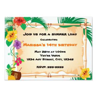 Summer Tropical Bamboo Tiki  Beach Invitation