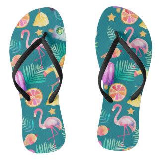 Summer Tropical Fun Teal Pattern Thongs