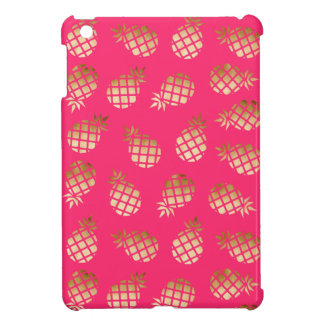 Summer tropical gold and pink pineapple pattern iPad mini cover