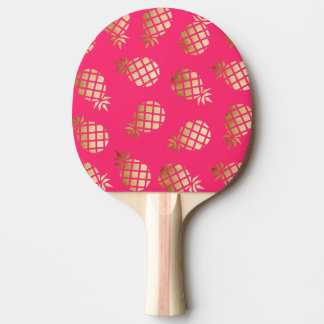 Summer tropical gold and pink pineapple pattern ping pong paddle