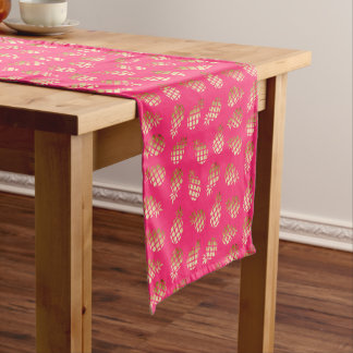 Summer tropical gold and pink pineapple pattern short table runner