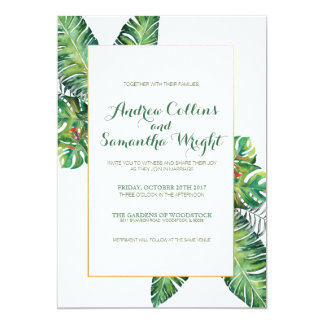 Summer Tropical Leaves Wedding Party Invitation