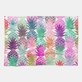 Summer tropical pineapples pastel watercolor tea towel